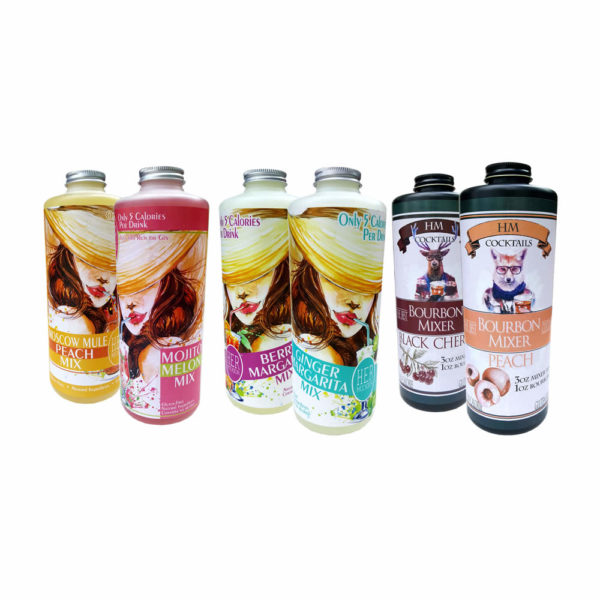 HERmixer Low Calorie Ginger-Margarita Mix, Berry-Margarita Mix, Melon Mojito Mix, Moscow Mule Peach Mix, Black Cherry Bourbon Mix and Peach Bourbon Mix